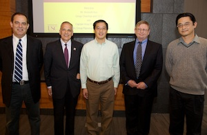 Fokion Egolfopoulos, Yannis Yortsos, Kenneth Koo, Martin Gundersen and Hai Wang at USC's Tutor Hall following the signing.