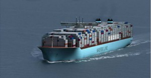 Triple-E container ships are more fuel-efficient and help operators cut costs. Photo: Maersk Line