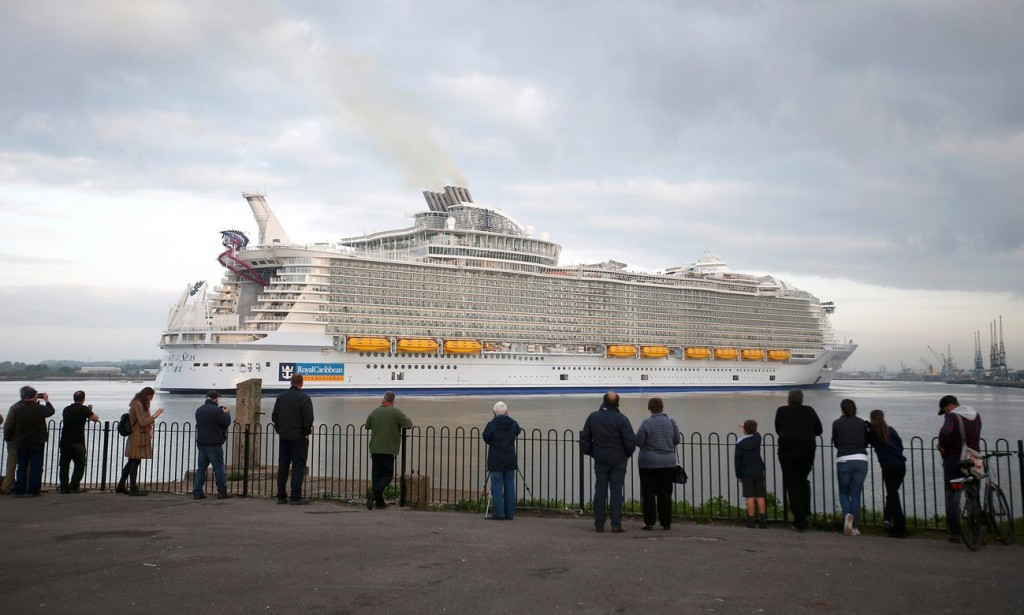 At full power the Harmony of the Seas' two 16-cylinder engines would each burn 1,377 US gallons an hour of some of the most polluting diesel fuel in the world. Photograph: Peter Nicholls/Reuters